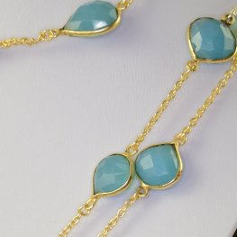 Gemstone Chain - Mounted Faceted Stone - Seafoam Chalcedony / Silver (foot)