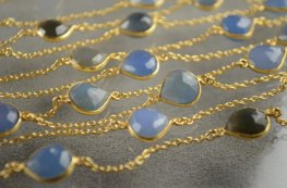 Gemstone Chain - Mounted Faceted Stone - Aqua Chalcedony / Gold Plated (foot)