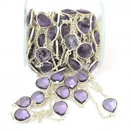 Gemstone Chain - Mounted Faceted Stone - Amethyst / Silver (foot)