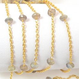 Gemstone Chain - 5mm Faceted Rondelle on Wire Link with Chain - Labradorite / Gold Plated (foot)