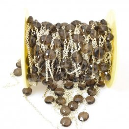Gemstone Chain - 7mm Faceted Coin on Wire Link with Chain - Smokey Quartz / Silver (foot)