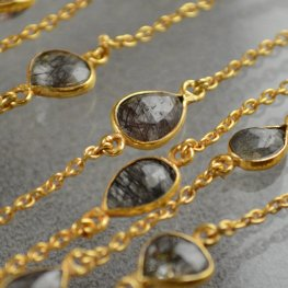 Gemstone Chain - 12x9mm Mounted Stone - Rutilated Quartz (foot)