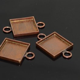 Resin Bezel Tray - ID 19mm Square Link - Antiqued Copper