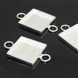 Resin Bezel Tray - ID 19mm Square Link - Bright Silver