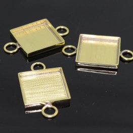 Resin Bezel Tray - ID 19mm Square Link - Bright Brass
