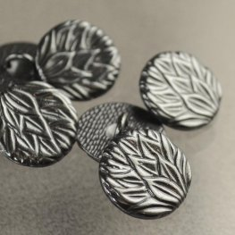 Metal Buttons - Pineapple Leaves - Gunmetal