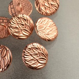 Metal Buttons - Pineapple Leaves - Bright Copper