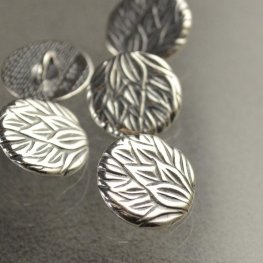 Metal Buttons - Pineapple Leaves - Antiqued Silver