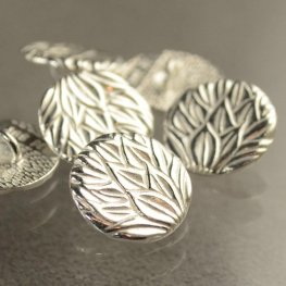 Metal Buttons - Pineapple Leaves - Bright Silver