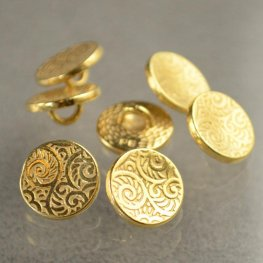 Metal Buttons - Curling Vines - Gold Plated