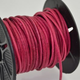 Stringing - 2mm Leather Cord - Raspberry (1 Metre)