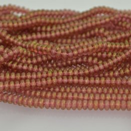 Glass Beads - 4mm Tire Rondelles - Peach Lumi Gold Lustre (Strand 100)