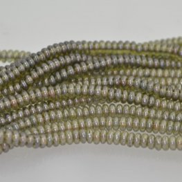 Glass Beads - 4mm Tire Rondelles - Olive Lustre (Strand 100)