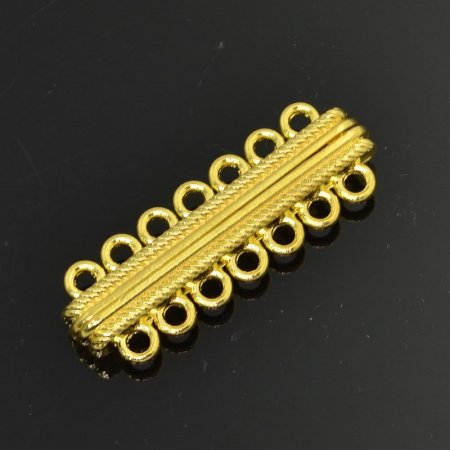 Magnetic Clasp - 7-Strand Rope Bar - Bright Gold