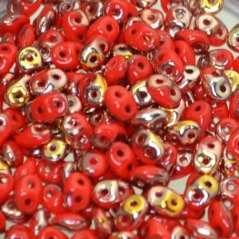 Czech Seedbeads - 2-Hole Superduos - Coral Red Capri Gold