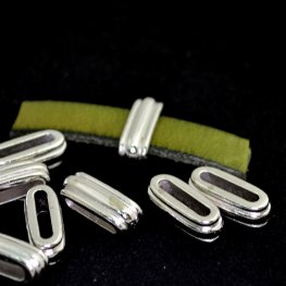 Beads - 10mm Flat Leather - Deco Slide - Bright Rhodium