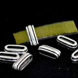 Beads - 10mm Flat Leather - Deco Slide - Antiqued Silver