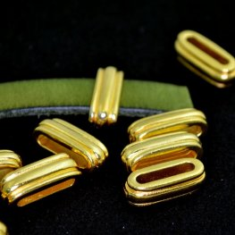 Beads - 10mm Flat Leather - Deco Slide - Bright Gold