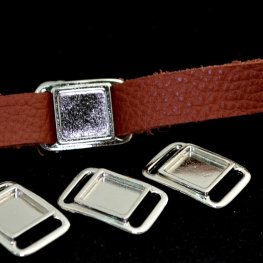 Findings - .5in Leather - Square Frame Slide / Link - Bright Rhodium