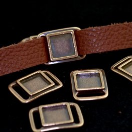 Findings - .5in Leather - Square Frame Slide / Link - Antiqued Copper
