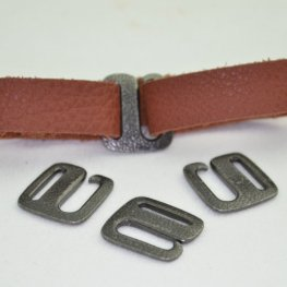 Findings - Leather - Distressed E Hook Clasp - Black