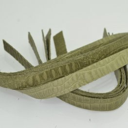 Leather - .5x10in Leather Strip - Olive Hornback