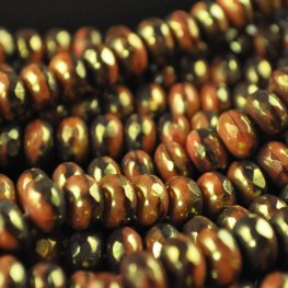 Firepolish - 8mm Faceted Donut - Chocolate Choice (strand 25)