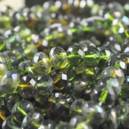 Firepolish - 9x6mm Faceted Donut - Emerald Forest (strand 25)