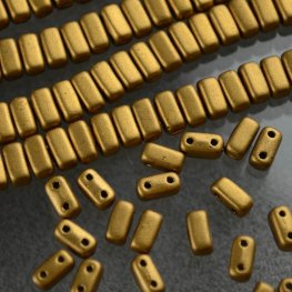 Glass Beads - Czechmates - 6mm 2 Hole Bricks - Matte Metallic Old Gold (Strand)