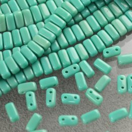 Glass Beads - Czechmates - 6mm 2 Hole Bricks - Turquoise Green (Strand)