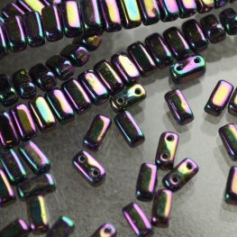 Glass Beads - Czechmates - 6mm 2 Hole Bricks - Purple Iris (Strand)