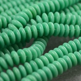 Glass Beads - Czechmates - 6mm 2 Hole Lentils - Turquoise Green (Strand)