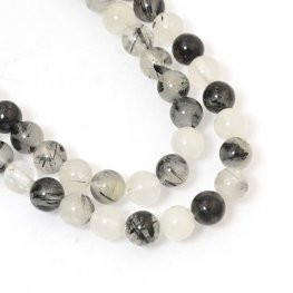 Stone Beads - 6mm Rounds - Rutile Quartz (strand)