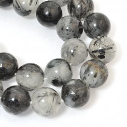 Stone Beads - 12mm Rounds - Rutile Quartz (strand)