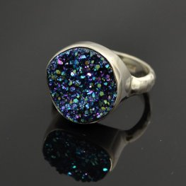 OOAK Stone - Round Ring - Steely Blue Druzy - Sterling