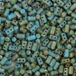 Czech Shaped Beads - Rullas - Turquoise Blue/Picasso