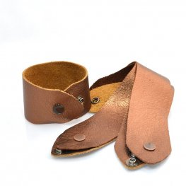 Leather Bracelet - Large / Extra Large - Wide - Metallic Copper