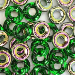 Glass Rings - 10mm Cheerios - Chrysolite Vitrail (25)