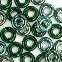 Glass Rings - 10mm Cheerios - Emerald Celsian (25)