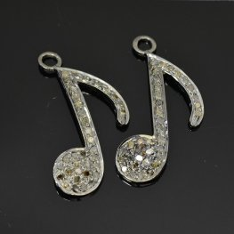 Diamond Pendant - Big Musical Note Pendant - Coloured Diamonds / Gunmetal