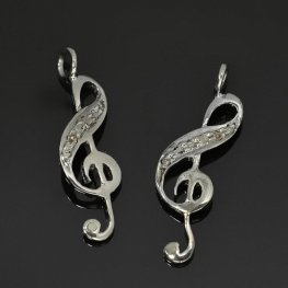 Diamond Pendant - Treble Clef Pendant - Coloured Diamonds / Gunmetal