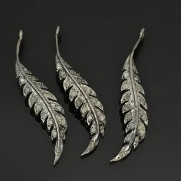 Diamond Pendant - Graceful Feather Pendant - Coloured Diamonds / Gunmetal