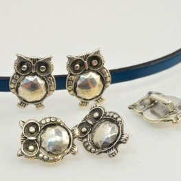 Beads - 5mm Flat Leather - Phat Owl - Antiqued Silver