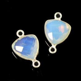Stone Pendant - 11mm / 2-Loop Faceted Shield - White Opal Hydro Quartz - Silver Plated
