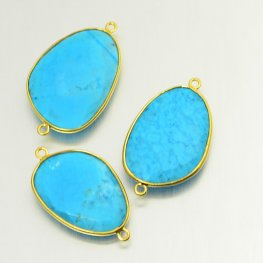 Stone Link - Freeform Oval in Channel Setting - Turquoise - Gold Plated