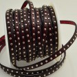 Leather - 5mm Studded Flat Leather - Dark Burgundy (Inch)