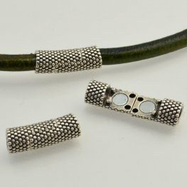 Findings - 5mm Round Leather - Small Dots Tube Magnetic Clasp - Antiqued Silver