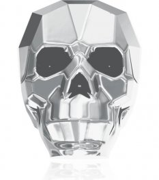 Swarovski Bead - 19mm Faceted Skull (5750) - Crystal Light Chrome