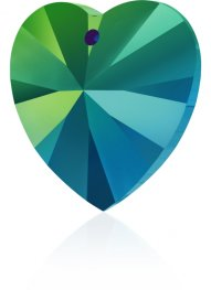 Swarovski Pendant - 10mm Faceted Xilion Heart (6228) - Crystal Scarabaeus Green