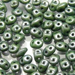 Czech Seedbeads - 2-Hole MiniDuos - Green Lustre